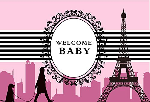 (Baocicco 7x5ft Welcome Baby Shower Photography Backdrops France Paris Eiffel Tower Pink City Sky Woman with Dog Newborn Baby Boy Girl Black Stripes Prince Princesss Polyester Photo Studio Props)