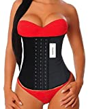YIANNA Women's Underbust Latex Sport Girdle Waist Training Corset Waist Body Shaper for weight loss, Size 4XL (Black)