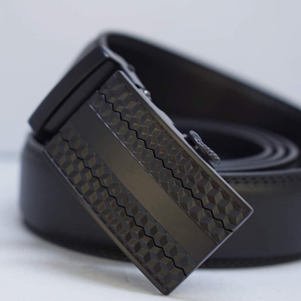 Behnaz Pucci Leather MB32-BL Automatic Buckle Men Belt BLACK