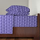 Roostery Hearts 4pc Sheet Set Valentina's Hearts In Purple by Siya King Sheet Set made with