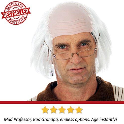 Old Man Wig Benjamin Franklin Wigs or Albert Einstein Costume – Bald Grandpa by ALLAURA (Image #1)