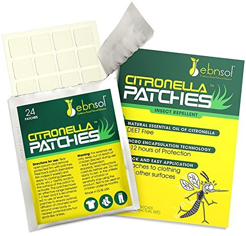 ebnsol Citronella Patches Natural Mosquito Repellant and Flying Insect Repellent, 24 on Film ~ DEET Free, Mess Free, Safe for Kids ~ Lasts Up to 12 Hours ~ No Contact with Skin by Inc.