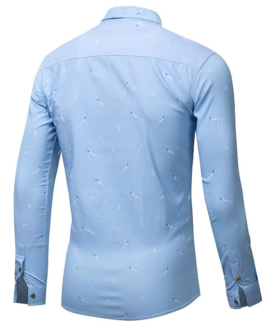 Rrive Mens Casual Cotton Print Long-Sleeve Button Down Regular Fit Stretchy Shirt