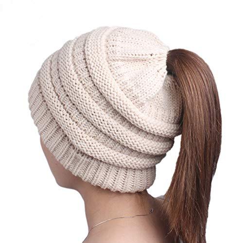 ATIMIGO Beige Winter Cable Knit Ponytail Beanie Soft Stretch Messy High Bun Hat Cap for Women