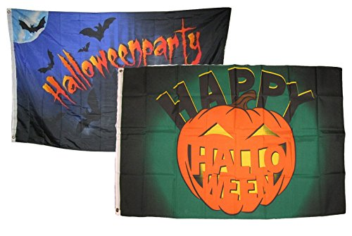 ALBATROS 3 ft x 5 ft Happy Halloween 2 Pack Flag Set Combo #15 Banner Grommets for Home and Parades, Official Party, All Weather Indoors Outdoors ()