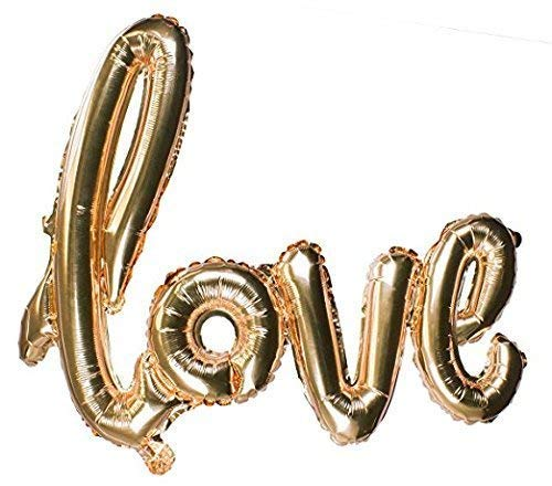 Love Events Extra Large Gold Foil Balloon Love Script Balloon - Wedding Valentine's Day, Engagement, Vow Renewal -