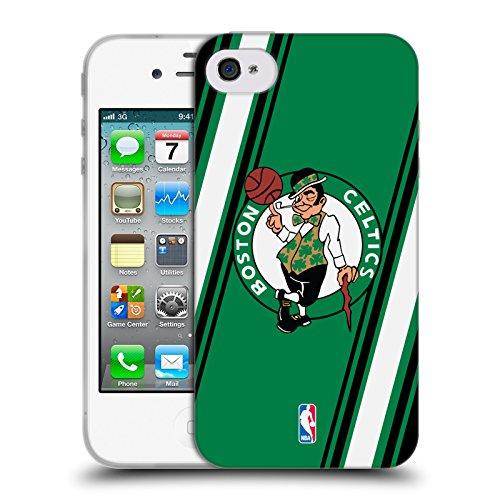 Official NBA Stripes Boston Celtics Soft Gel Case for Apple iPhone 4 / 4S