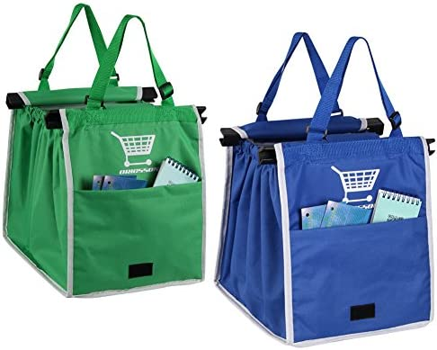 e9c2af6b349 ORICSSON 2 Packs Foldable Nylon Reusable Eco-friendly Shopping Bag for  Cart, Blue + Green