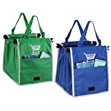 ORICSSON 2 Packs Foldable Nylon Reusable Eco-friendly Shopping Bag for Cart, Blue + Green