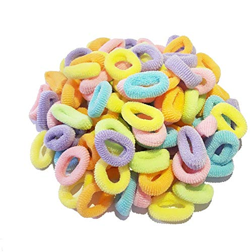 100 Pcs 20mm Pastels Sweet Colorful Child Kids Hair Holders Cute Rubber Hair Band Elastics Accessories Girl Charms Tie Gum (Sweet 20mm)