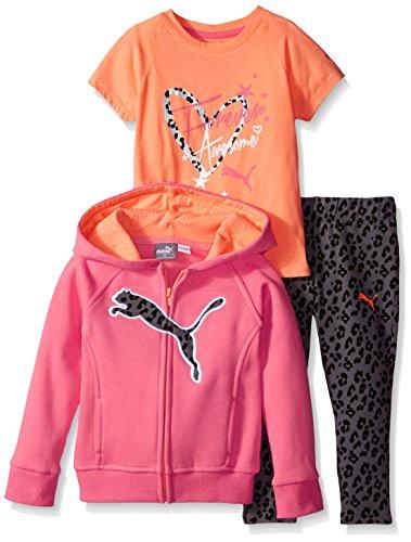 - PUMA Little Girls' Toddler 3 Piece Set Zip Jacket Tee and Pant, Calypso Pink, 3T