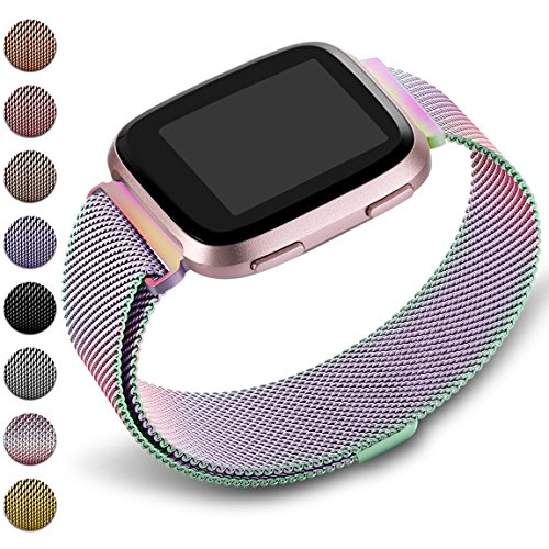 Maledan Metal Bands Replacement Compatible with Fitbit Versa, Stainless Steel Milanese Accessories Bracelet Strap Band with Magnet Lock for Women Men, Colorful, Large