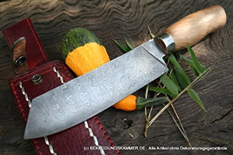 Acero de Damasco cuchillo de Damasco cuchillo Santoku de ...