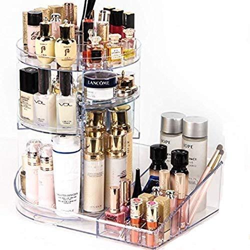 Diamond Pattern 360 Degree Rotatable Acrylic Mute Makeup Storage Box Lipstick Brush Perfume Nail Polish Cosmetic Organizers Aesthetic Appearance Home Storage & Organization Home & Garden