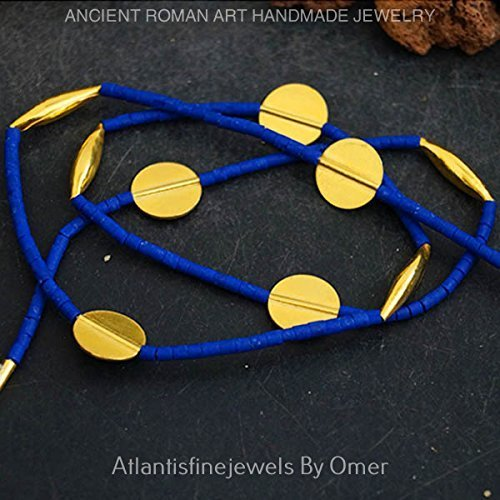 Lapis Heishi Handmade Anatolian Troy Necklace 24k Gold Over 925 Sterling Silver By Omer