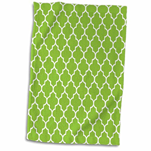 3dRose-InspirationzStore-patterns-Bright-green-quatrefoil-pattern-Lime-Moroccan-tiles-retro-Islamic-art-white-geometric-clover-lattice-Towel