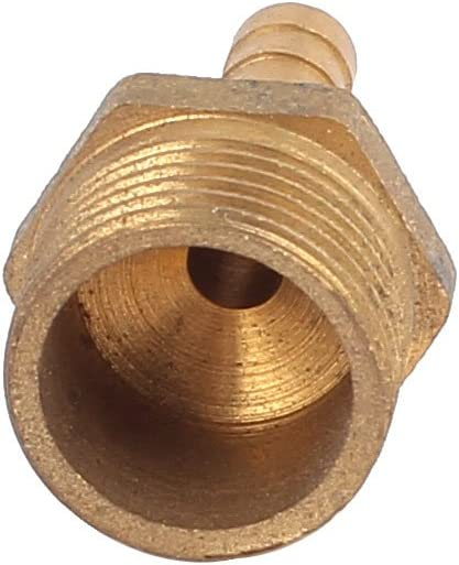 uxcell 3//8PT x 4mm 2 Way Brass Pneumatic Pipe Air Hose Barb Coupler Fitting