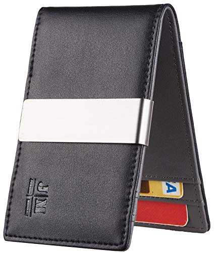 JM Minimalist Slim Leather Wallet Money Clip Credit Card Holder for Men RFID Blocking (napa black and grey) ()