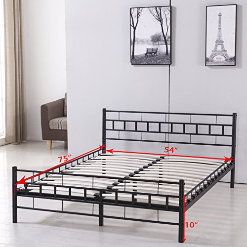 Walcut 10Inch Height Fodable Set-up Steel Bed Frame/Platform Bed Bedroom Furniture (Double)