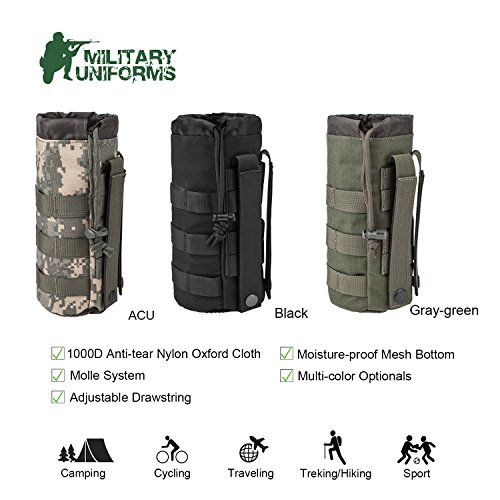 MILITARY UNIFORMS Outdoor Gear Mesh Flask Bag Drawstring Water Bottle Pouch Molle Water Bottle Attachment ACU CP Camouflage Tactical Hiking Camping 1000D Nylon Anti-Tear Oxford Cloth (Black) ()