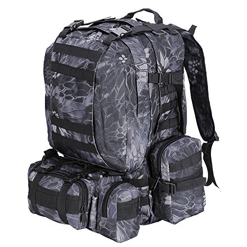 55L Outdoor Military Molle Tactical Backpack Rucksack Camping Bag Travel Hiking - Black Pythons Grain by HI