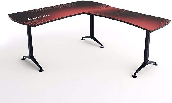 Clutch Ergonomic L-Shaped Gaming Desk Red