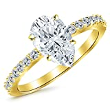 14K Yellow Gold 1 CTW Classic Side Stone Pave Set Diamond Engagement Ring w/ 0.7 Ct Pear Cut G Color SI1 Clarity Center