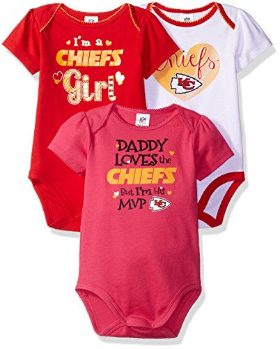 Kansas Girl - NFL Kansas City Chiefs Baby-Girls 3-Pack Short Sleeve Bodysuits, Red, 18 Months