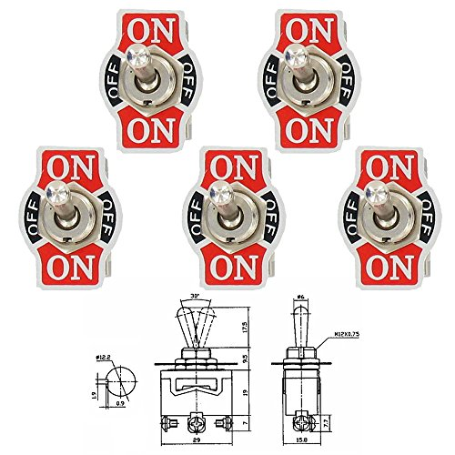 ESUPPORT Car Univeral Heavy Duty 20A 125V SPDT 3 Terminal ON/OFF/ON Rocker Toggle Switch Metal Pack of 5 ()