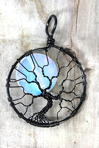 Tree of Life Pendant Opalite Moonstone Full Moon Black Wire Wrapped Halloween Jewelry Spooky Tree Necklace