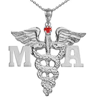 Registered Vet Tech RVT Pendant with Ruby in Silver NursingPin