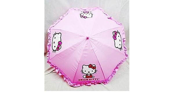 Paraguas - Hello Kitty - rosa Face Logo con cordones figura mango nueva hek556r-3: Amazon.es: Juguetes y juegos