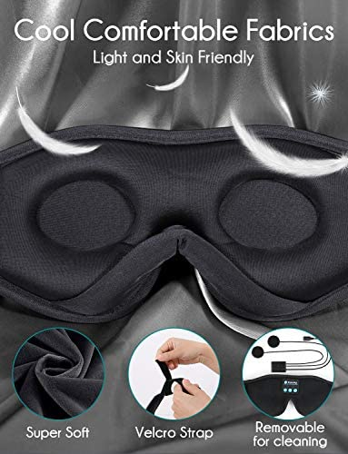 Sleep Headphones,3-d Sleep Mask Bluetooth 5.0 Wireless Music Eye Mask, LC-dolida Sleeping Headphones for Side Sleepers with Ultra-Thin Stereo Speakers Perfect for Sleeping