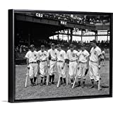 "Floating Frame Premium Canvas with Black Frame Wall Art Print Entitled American League Baseball Greats in The line-up of The 5th All-Star Game, 1937 30""x24"""