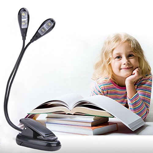 SAMPLUS MALL LABEL Reading Study Desk Lights 2 Dual Flexible Arms 4 LED Clip-on Light Lamp Table Lamp for Piano Music Stand Book