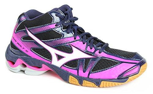 Mizuno Wave Bolt Mid Wos, Zapatos de Voleibol para Mujer Black/White/Peacoat