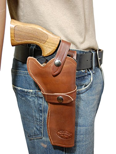 Barsony NEW Brown Leather Western Style Gun Holster for COLT ANACONDA right
