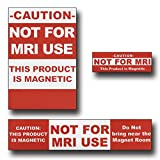 Red MRI Caution Labels 25 pack 6 large, 7 medium, 12 small