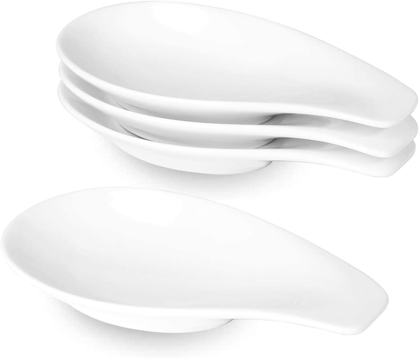 ONTUBE Ceramic Spoon Rests Set of 4, Porcelain Sauce Dish Resting Cooking Spoons Holder Ceramic Towel Plate, 6.5 Inch (White)