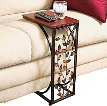 Amazon.com: Trois_s VINE SIDE SOFA END TABLE WOOD DESK TV SNACK DRINK BOOK  TRAY Slide Under Couch: Kitchen U0026 Dining