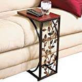 trois_s VINE SIDE SOFA END TABLE WOOD DESK TV SNACK DRINK BOOK TRAY Slide Under Couch
