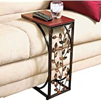 VINE SIDE SOFA END TABLE WOOD DESK TV SNACK DRINK BOOK TRAY Slide Under Couch