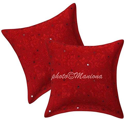 maniona artesanía Indian Espejo Bordado Trabajo Cojín (Rojo ...