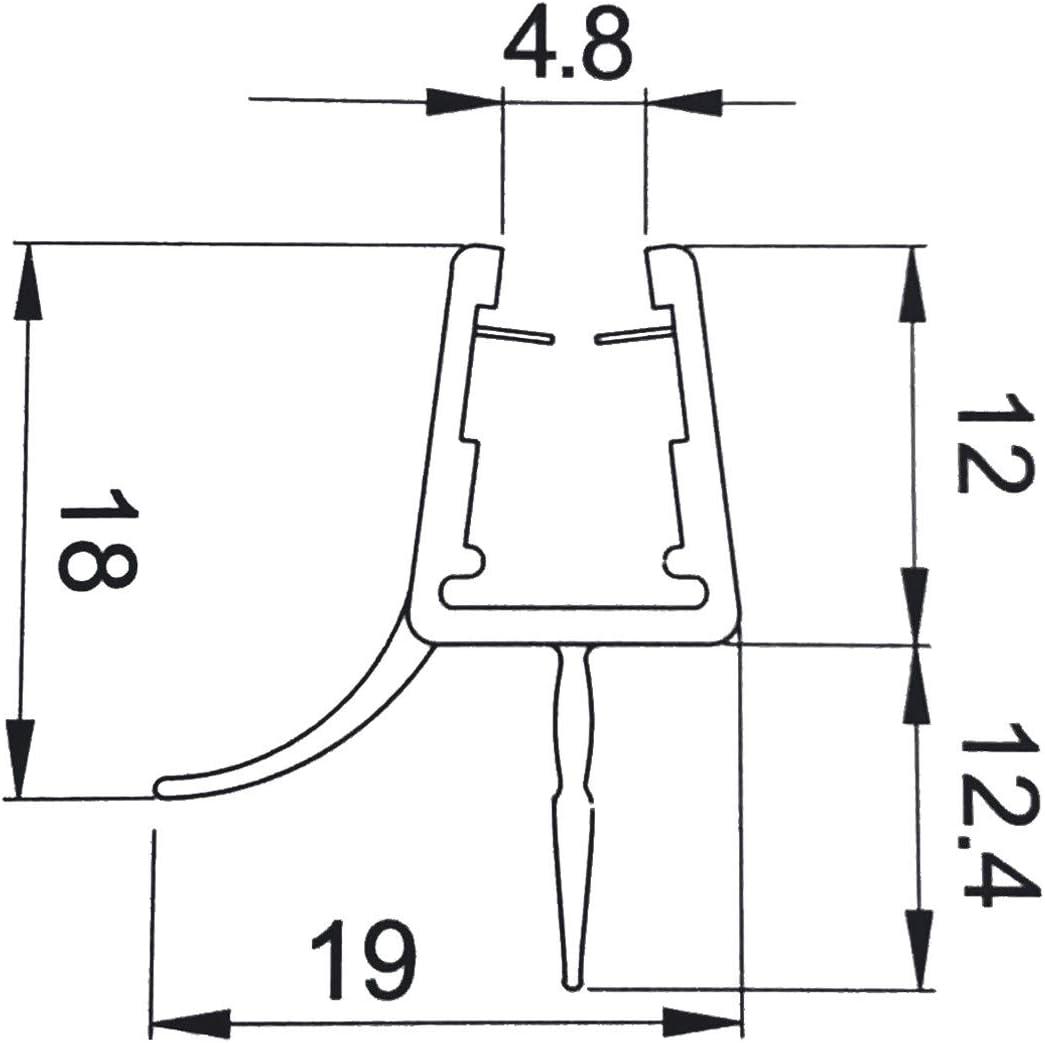 Perfil de junta con doble desviador para mampara de ducha grosor cristal 6-8 mm, longitud 2200 mm 8PT8-35: Amazon.es: Bricolaje y herramientas