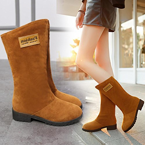 KaiCran Ladies Ankle Boots for Womens Low Wedge Biker Ankle Trim Flat Ankle Warm Martin Boots Shoes Khaki 2TCd8zFq