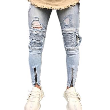 Rera Homme Pantalon Jeans Bleu de Crayon Jambes Serré Pants de Denim Coupe  Slim Fermeture Eclair Trou Déchirée Cheville  Rera  Amazon.fr  Vêtements et  ... 9f984b2f26c9