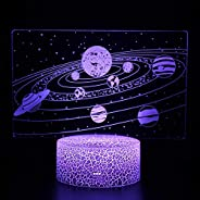 Buzdao Galactic System 3D Optical Illusion Lamp Universe Space Galaxy Night Light for Kids Boys and Girls As O