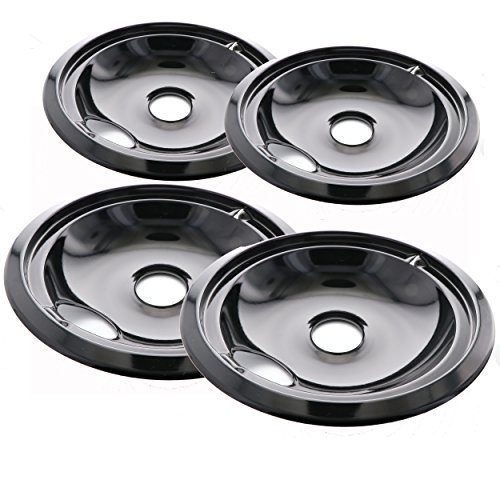 Range Kleen Style A P10124XN Porcelain Drip Pans 2 Nos. 6-Inch. & 2 Nos. 8-Inch. - Black (Set of 4) (Stove Pans For Maytag Stove)