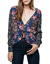 Free People Womens The Way The World Turns Plunging Blouse Top