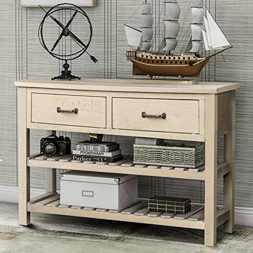 P PURLOVE Console Table Sofa Table with Drawers Console Tables for Entryway with Drawers and 2 Tiers Wood Shelf (Antique Gray)